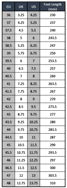 Fizik X4-Alp Shoe Size Chart
