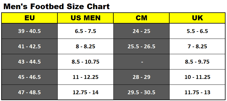 Men's footbed size chart