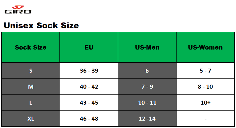 Giro unisex sock size