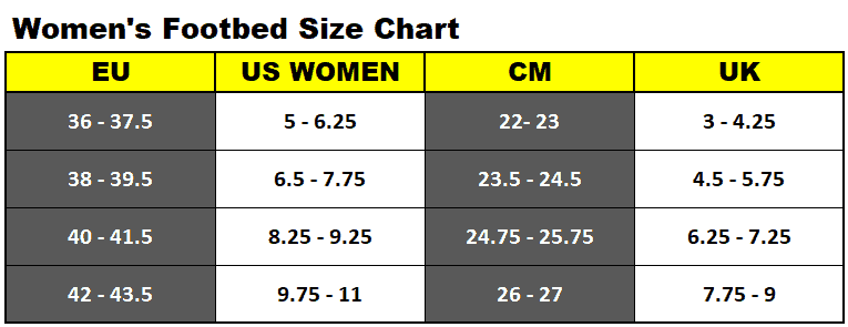 Women's footbed size chart