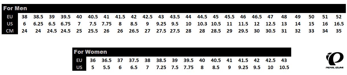 Pearl iZUMi X-Alp Size Chart