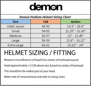 Universal fit Size Chart for Demon Helmets