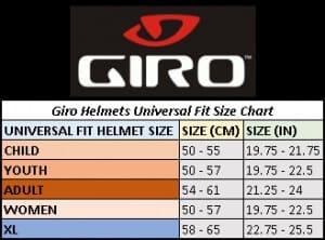 Size Chart for Giro Helmets