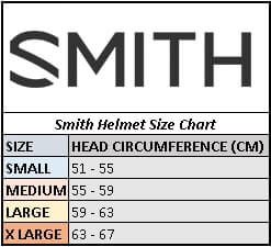 Universal fit Size Chart for Smith Helmets