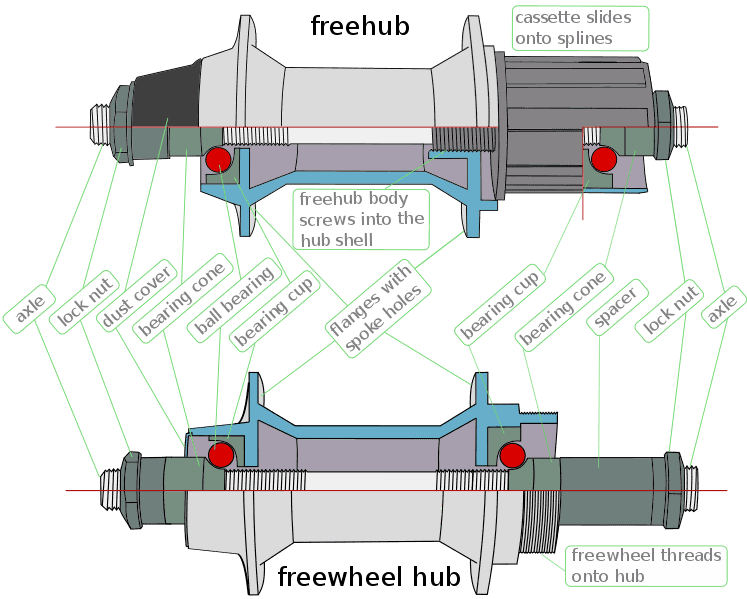 difference between freecoaster and cassette hubs