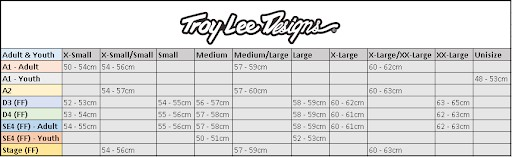 Universal fit Size Chart for Troy Lee Designs Helmets