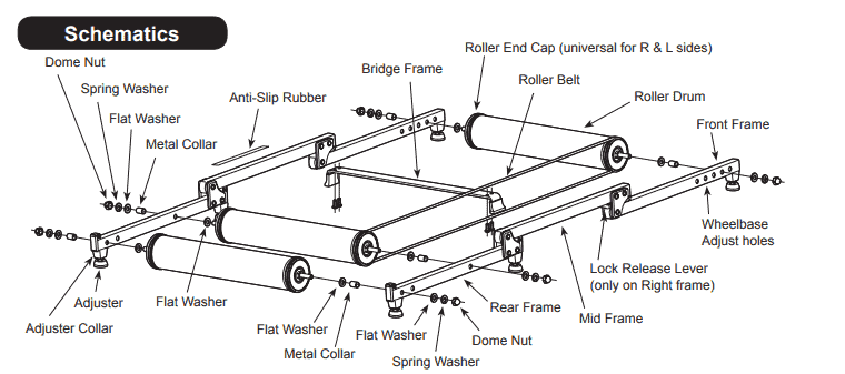 Components of the Minoura MOZ roller