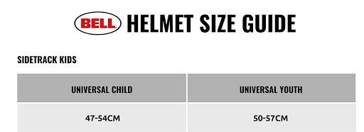 Bell Sidetrack Child & Youth Bike Helmet size