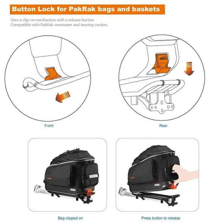 Button lock for pakrak bags and bukets