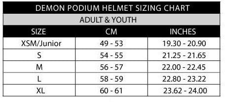 DEMON Podium size guide