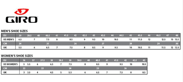 Giro shoe chart