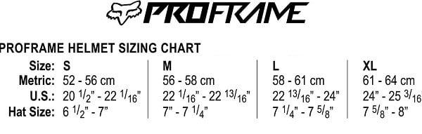 Proframe helmet size chart