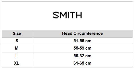 SMITH Size chart