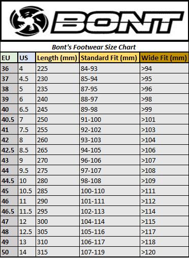 BONT cycling shoes sizing chart