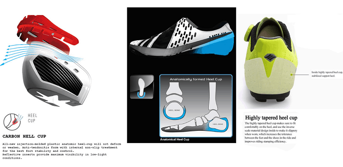 Cycling shoes heel cup