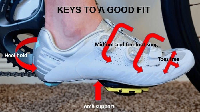 Good fit for cycling shoes