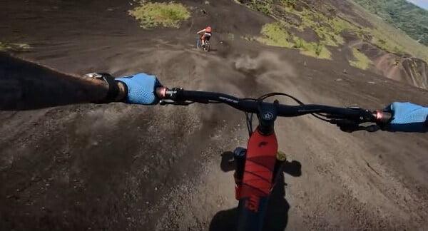 Mountain biking with gloves