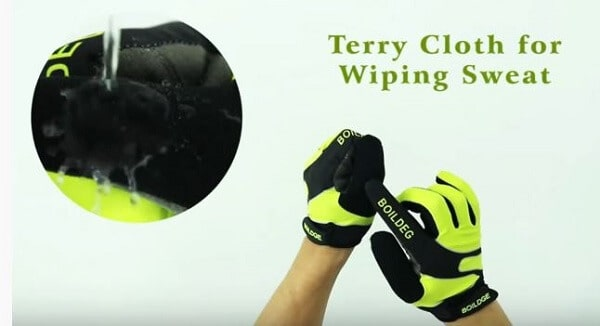 Nose wipe on mountain bike gloves