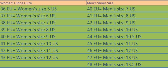Peleton shoes sizing chart