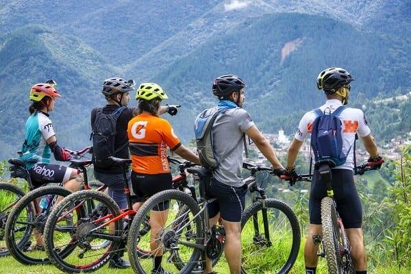 Mountain bikers in summer
