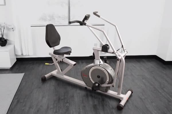 Recumbent bike with moving arms