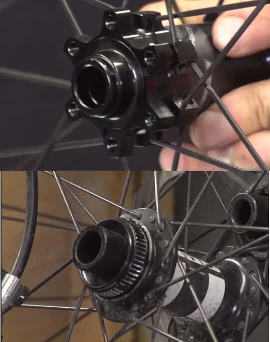 Six bolt and centre lock attachments