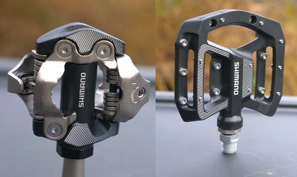 Clipless and flat pedals