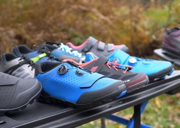 Various cycling shoes