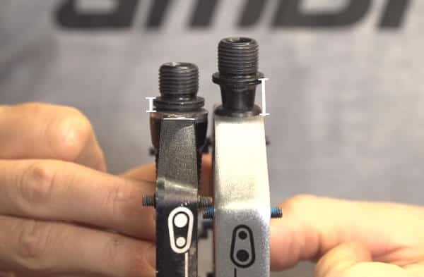 Part of the spindle length in 2 different pedals